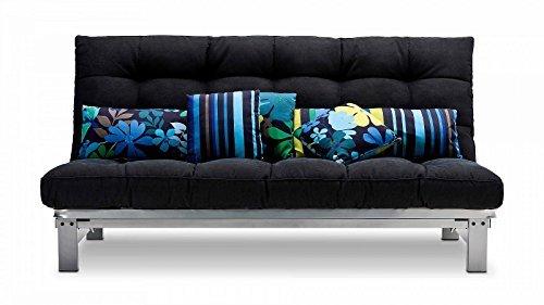 Schlafsofa anthrazit Stoff Metallgestell Couch Liege Bett günstig