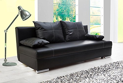 schlafsofa in schwarzem kunstleder sofa mit schlaffunktion und bettkasten pflegeleichte. Black Bedroom Furniture Sets. Home Design Ideas