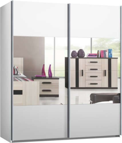 schwebet renschrank kleiderschrank ca 200 cm weiss mit spiegel schiebet renschrank m bel24. Black Bedroom Furniture Sets. Home Design Ideas