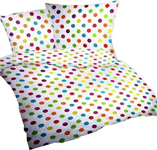 Seersucker-Bettwsche-Set-Bubble-Bobble-135x200-cm-Wei-mit-bunten-Punkten-Bettdecke-und-Kopfkissen-Bezug-aus-100-Baumwolle-Der-bgelfreie-luftig-leichte-Bett-Bezug-fr-den-Sommer-0