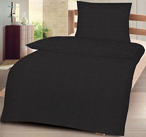Seersucker Bettwäsche aus 100% Baumwolle Größe: 135x200 cm + 80x80 cm 2-teiliges Set in schwarz