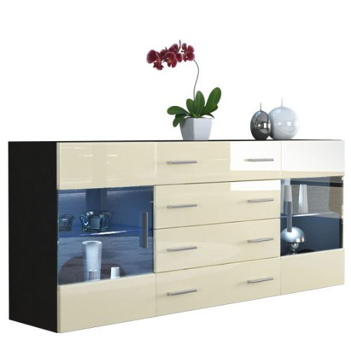 sideboard kommode bari v2 korpus in schwarz matt front in creme hochglanz m bel24. Black Bedroom Furniture Sets. Home Design Ideas