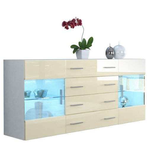 sideboard kommode bari v2 in wei creme hochglanz 0 m bel24. Black Bedroom Furniture Sets. Home Design Ideas