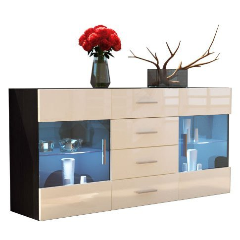 sideboard kommode bari korpus in schwarz matt front in creme hochglanz m bel24 m bel g nstig. Black Bedroom Furniture Sets. Home Design Ideas