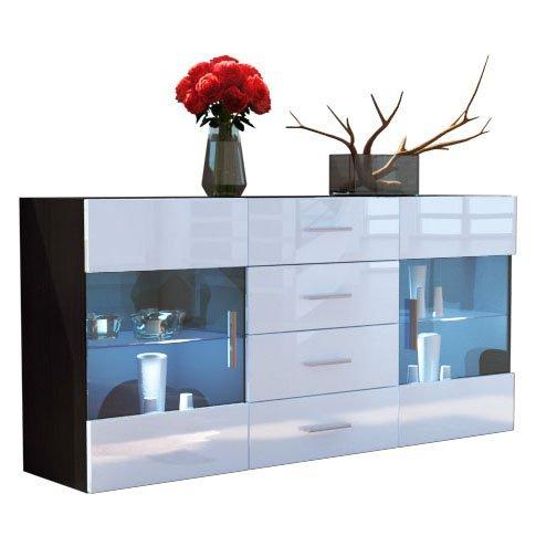 sideboard kommode bari korpus in schwarz matt front in wei hochglanz m bel24. Black Bedroom Furniture Sets. Home Design Ideas