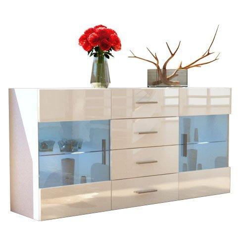 sideboard kommode bari in wei creme hochglanz 0 m bel24. Black Bedroom Furniture Sets. Home Design Ideas