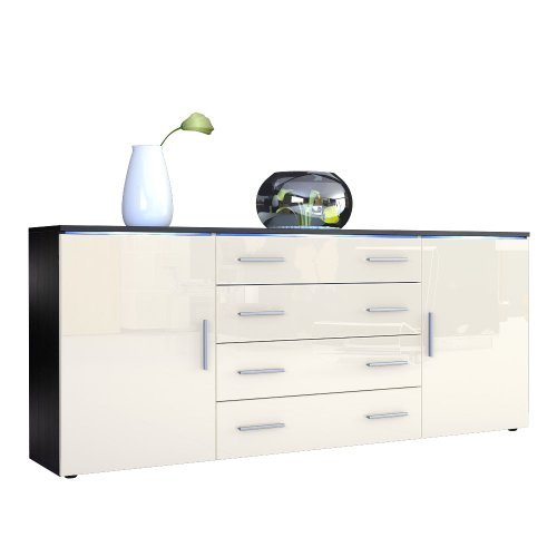 sideboard kommode faro v2 korpus in schwarz matt front in creme hochglanz m bel24. Black Bedroom Furniture Sets. Home Design Ideas