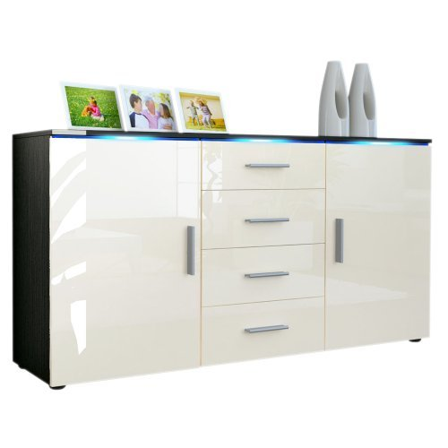 m bel24 m bel g nstig sideboard kommode faro in schwarz. Black Bedroom Furniture Sets. Home Design Ideas