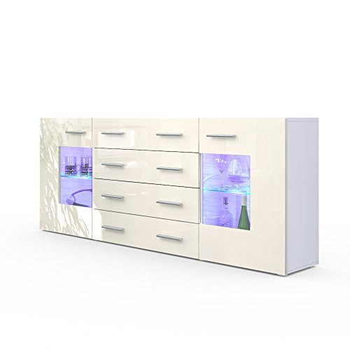 m bel24 sideboard kommode grmitz v2 in wei creme hochglanz 0. Black Bedroom Furniture Sets. Home Design Ideas