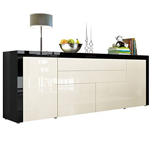 sideboard kommode la paz v2 in schwarz hochglanz creme. Black Bedroom Furniture Sets. Home Design Ideas