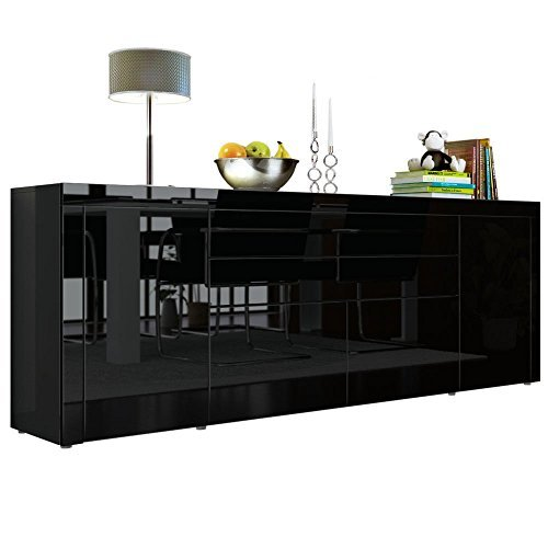 sideboard kommode la paz v2 in schwarz hochglanz schwarz hochglanz schwarz hochglanz. Black Bedroom Furniture Sets. Home Design Ideas