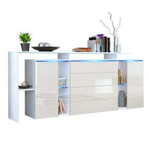 m bel24 sideboard kommode lissabon v2 in wei matt creme. Black Bedroom Furniture Sets. Home Design Ideas