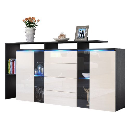 sideboard kommode lissabon v1 v2 in schwarz cr me laqu. Black Bedroom Furniture Sets. Home Design Ideas