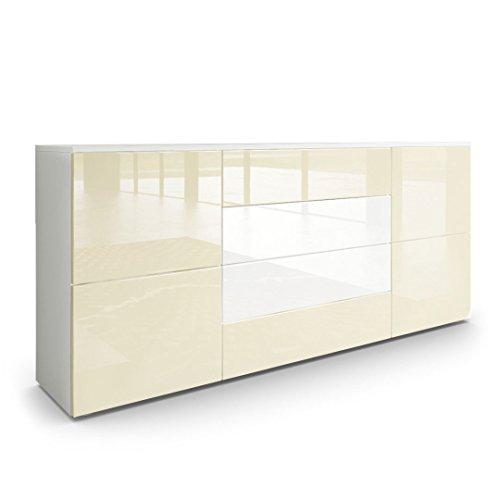 sideboard kommode rova korpus in wei matt fronten in creme hochglanz und wei hochglanz. Black Bedroom Furniture Sets. Home Design Ideas
