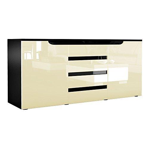 sideboard kommode sylt in schwarz creme hochglanz mit absetzungen in schwarz 0 m bel24. Black Bedroom Furniture Sets. Home Design Ideas