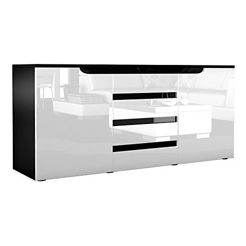 vladon sideboard kommode sylt korpus in schwarz matt front in wei hochglanz mit absetzungen in. Black Bedroom Furniture Sets. Home Design Ideas