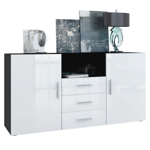 sideboard skadu korpus in schwarz matt front in wei hochglanz m bel24 m bel g nstig. Black Bedroom Furniture Sets. Home Design Ideas