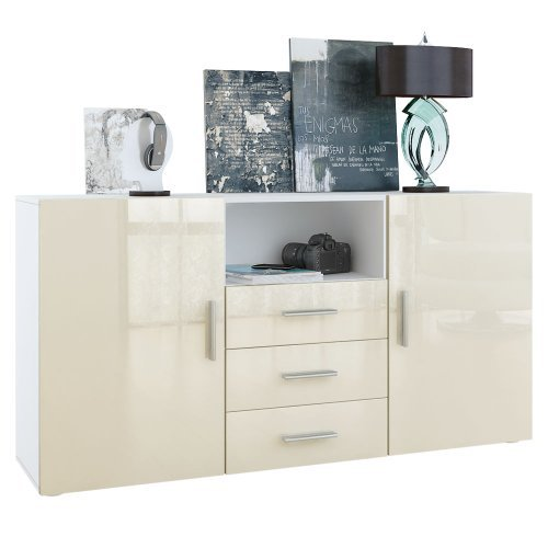 sideboard skadu korpus in wei matt fronten in creme hochglanz m bel24. Black Bedroom Furniture Sets. Home Design Ideas