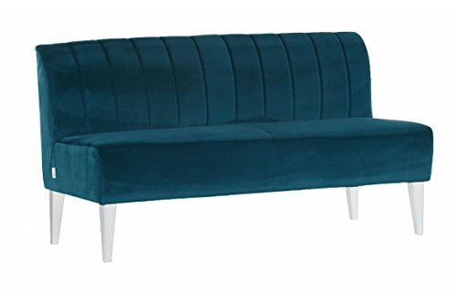 sofa retro zweisitzer stoff petrol blau sofa holzf e wei g nstig m bel24. Black Bedroom Furniture Sets. Home Design Ideas