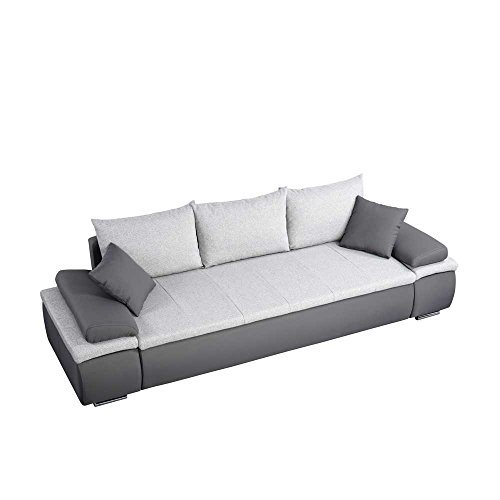 Sofa in Grau Hellgrau Schlaffunktion Pharao24