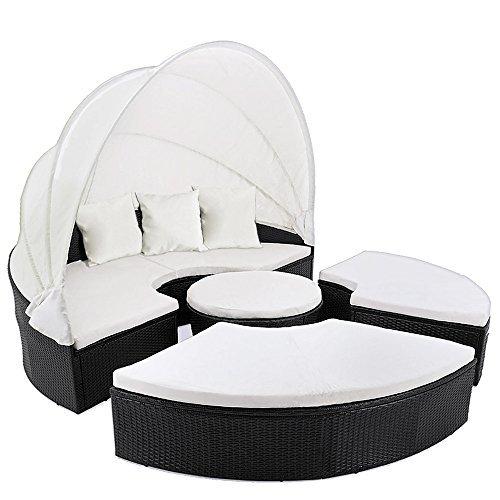 deuba poly rattan sonneninsel 185cm schwarz faltbares sonnenschutzdach 7cm dicke. Black Bedroom Furniture Sets. Home Design Ideas