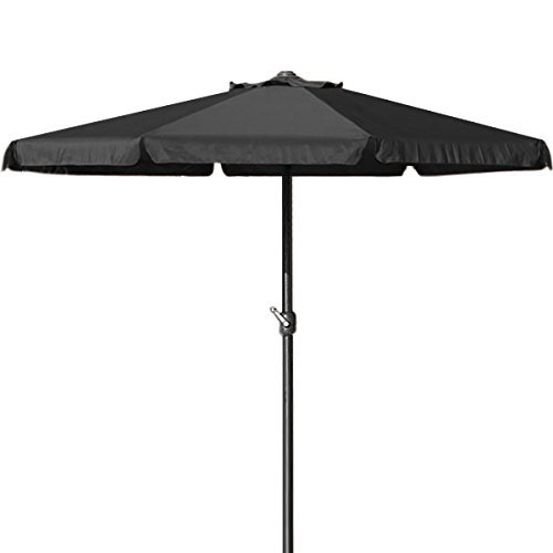 Deuba® Sonnenschirm • 350cm • wasserabweisend • Aluminium • schwarz - Kurbelschirm Ampelschirm Marktschirm Gartenschirm Terrassenschirm