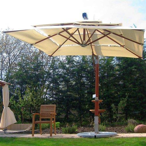 anndora Sonnenschirm Ampelschirm 360° Gartenschirm 3x3 m wasserabweisend - Farbwahl (natural)