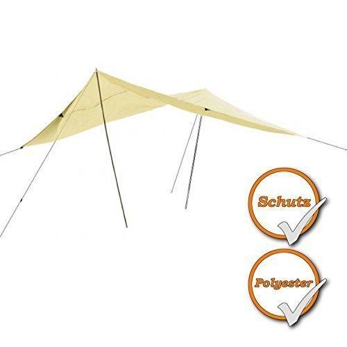 Sonnensegel mit Abspannleinen und Ösen, bietet Schutz vor Wind, Regen und Sonne, 300cmx400cm, sand