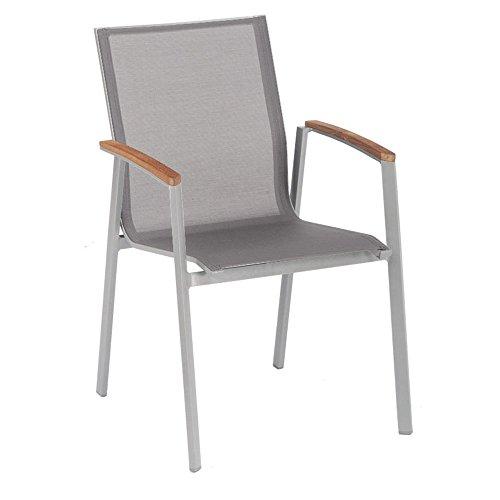stern stapelsessel top gestell graphit bezug silber grau teakarmlehnen m bel24. Black Bedroom Furniture Sets. Home Design Ideas