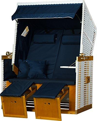 Strandkorb modell nordsee holstein pe wei dessin uni blau Markisenstoff uni blau