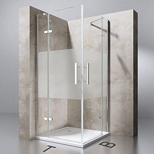 TBH: 90x100x195 cm Design Duschabtrennung Ravenna30MS, ESG-Sicherheitsglas Milchglas Streifen, inkl. NANO-Beschichtung