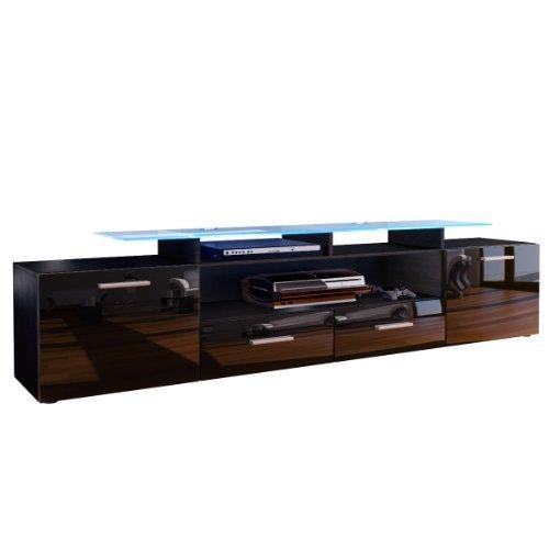 tv board lowboard almada v2 korpus in schwarz matt front in schwarz hochglanz m bel24. Black Bedroom Furniture Sets. Home Design Ideas