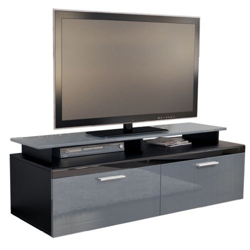 tv board lowboard atlanta korpus in schwarz matt front in grau hochglanz inkl tv aufsatz. Black Bedroom Furniture Sets. Home Design Ideas