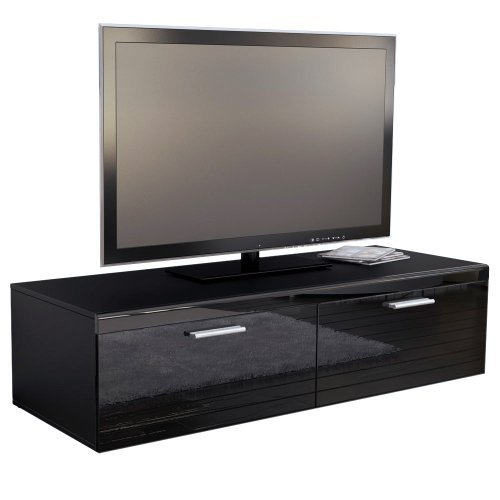 tv board lowboard atlanta in schwarz schwarz hochglanz. Black Bedroom Furniture Sets. Home Design Ideas