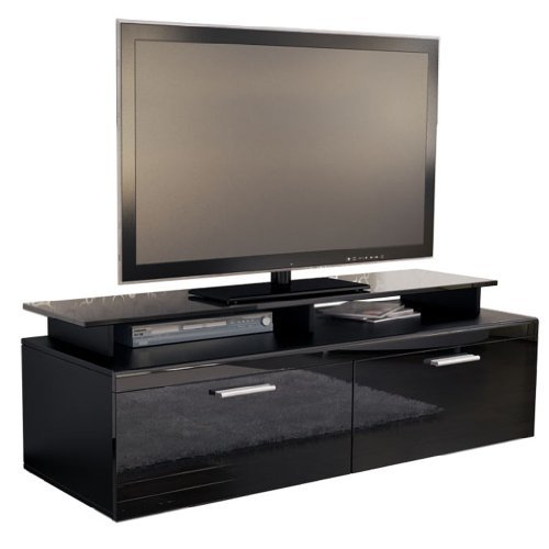 tv board lowboard atlanta korpus in schwarz matt front in schwarz hochglanz inkl tv aufsatz. Black Bedroom Furniture Sets. Home Design Ideas