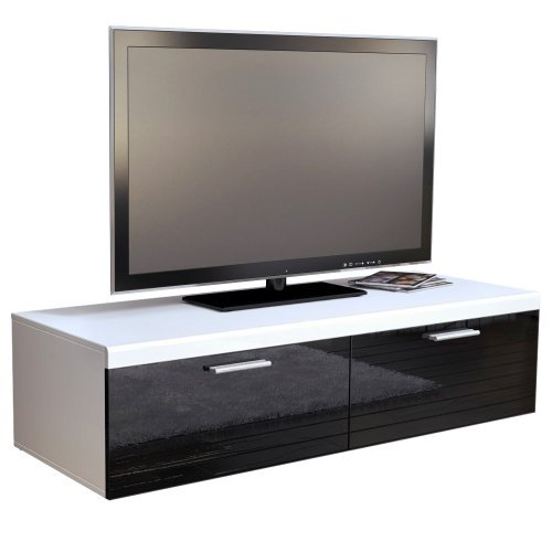 tv board lowboard atlanta in wei schwarz hochglanz m bel24 m bel g nstig. Black Bedroom Furniture Sets. Home Design Ideas