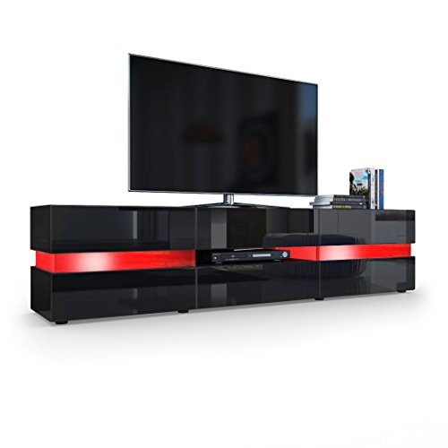 tv board lowboard flow korpus in schwarz matt front in schwarz. Black Bedroom Furniture Sets. Home Design Ideas