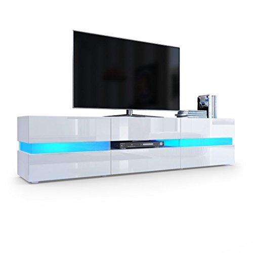 TV Board Lowboard Flow, Korpus in Weiß matt / Front in Weiß Hochglanz inkl. LED Beleuchtung .