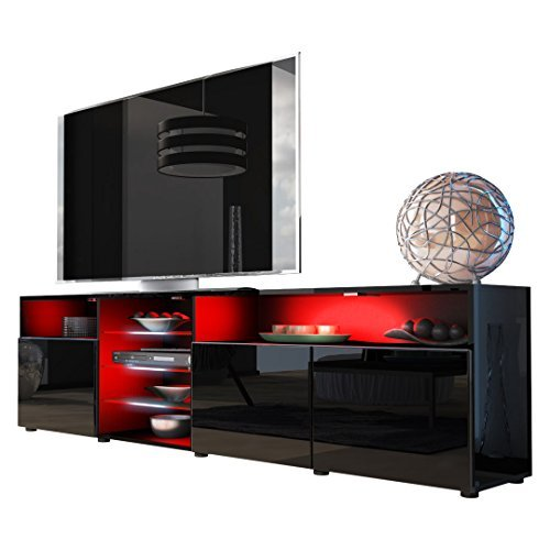 tv board lowboard granada v2 korpus in schwarz front in schwarz hochglanz m bel24. Black Bedroom Furniture Sets. Home Design Ideas