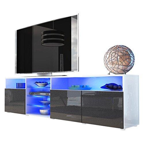 tv board lowboard granada v2 korpus in wei front in schwarz metallic hochglanz m bel24. Black Bedroom Furniture Sets. Home Design Ideas