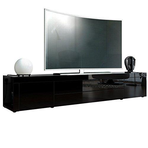 tv board lowboard la paz korpus in schwarz hochglanz front in schwarz hochglanz mit rahmen in. Black Bedroom Furniture Sets. Home Design Ideas