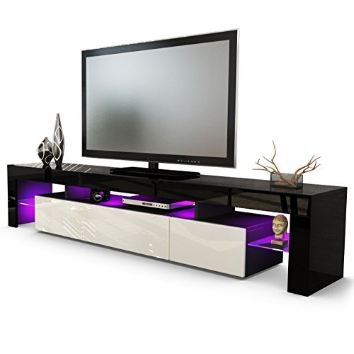 tv board lowboard lima v2 korpus in schwarz front in creme hochglanz m bel24. Black Bedroom Furniture Sets. Home Design Ideas