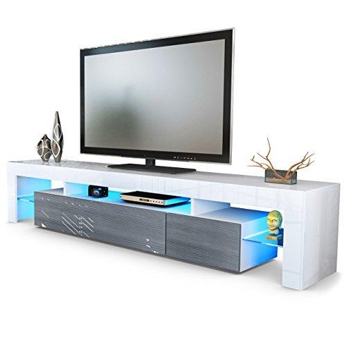 TV Schrank Lowboard Fernsehschrank Fernsehtisch Wohnzimmer Lima V2 in Weiß / Avola-Anthrazit