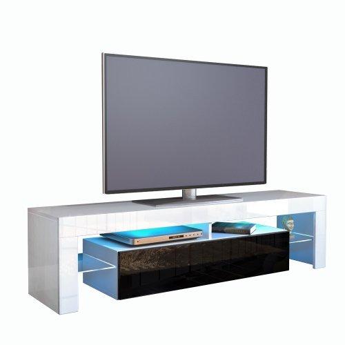 TV Schrank Lowboard Fernsehschrank Fernsehtisch Wohnzimmer Lima, Korpus in  Weiß / Front in Schwarz Hochglanz