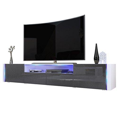 tv board lowboard marino v2 in wei schwarz metallic hochglanz m bel24. Black Bedroom Furniture Sets. Home Design Ideas