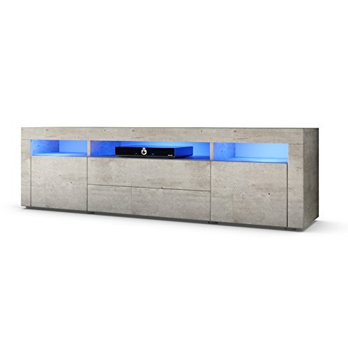 tv board lowboard santa fe 166cm in beton optik inkl led beleuchtung m bel24. Black Bedroom Furniture Sets. Home Design Ideas