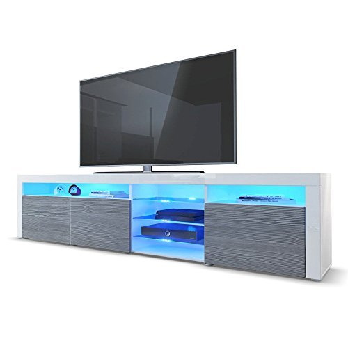 m bel24 m bel g nstig tv board lowboard santa fe in wei hochglanz avola anthrazit 0. Black Bedroom Furniture Sets. Home Design Ideas