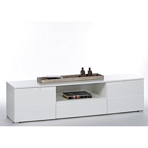 caro m bel tv lowboard hifi rack fernseh board mona hochglanz wei mit schublade und 2 t ren. Black Bedroom Furniture Sets. Home Design Ideas