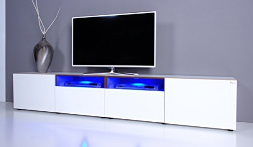 tv lowboard noomo wei hochglanz inkl rgb led beleuchtung. Black Bedroom Furniture Sets. Home Design Ideas