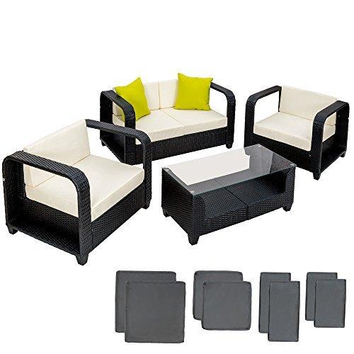 tectake hochwertige alu lounge poly rattan set sitzgruppe gartenm bel schwarz mit 2 extra kissen. Black Bedroom Furniture Sets. Home Design Ideas